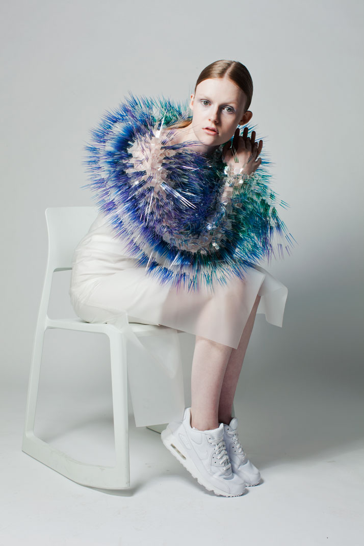 LOOK6: CLEAR FILM, PERSPEX, SILVER. Atmospheric Reentry, MA final Collection, © Maiko Takeda, 2013.Art Direction: Samuel John Weeks, Model: Victoria Savory (STORM), Makeup: Carol Morley, Photographer: Bryan Huynh.(Garment collaboration with Louise Bennetts).