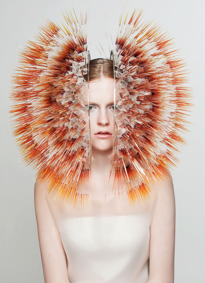 LOOK5: CLEAR FILM, PERSPEX, SILVER.Atmospheric Reentry, MA final Collection, © Maiko Takeda, 2013.Art Direction: Samuel John Weeks, Model: Victoria Savory (STORM), Makeup: Carol Morley, Photographer: Bryan Huynh.(Garment collaboration with Louise Bennetts).