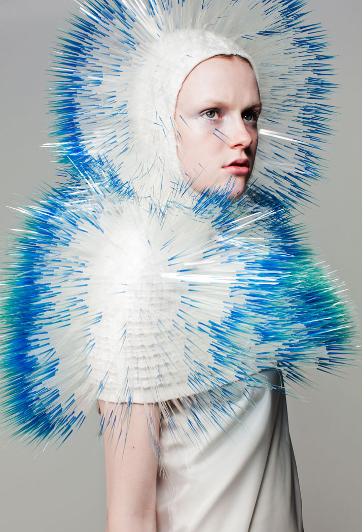 LOOK3: CLEAR FILM, CASHMERE WOOL (Knitwear collaboration with Nicola Jones).Atmospheric Reentry, MA final Collection, © Maiko Takeda, 2013.Art Direction: Samuel John Weeks, Model: Victoria Savory (STORM), Makeup: Carol Morley, Photographer: Bryan Huynh.(Garment collaboration with Louise Bennetts).