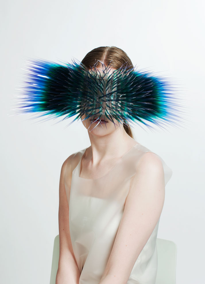 LOOK2: CLEAR FILM, PERSPEX, SILVERAtmospheric Reentry, MA final Collection, © Maiko Takeda, 2013.Art Direction: Samuel John Weeks, Model: Victoria Savory (STORM), Makeup: Carol Morley, Photographer: Bryan Huynh.(Garment collaboration with Louise Bennetts).