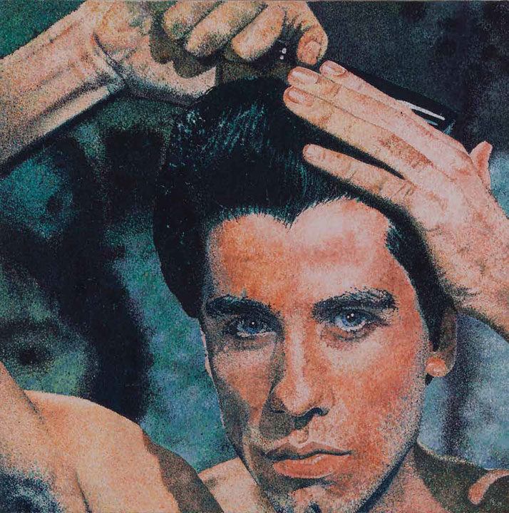 Michael ZavrosTony combs his hair for Saturday night, 1998 oil on canvas 150.0 x 150.0 cmCollection of the artist