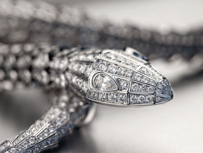 One-of-a-kind Bulgari High Jewellery Collection Serpenti necklace set with pear-shaped diamond eyes and over 228 carats of diamonds on the scales. Photo © Doug Rosa.