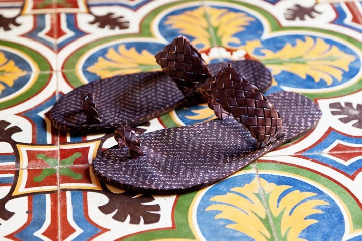 Hacienda  Montaecristo combines rebozos and leather into sandals and a necklace  that gives traditional Mayan dress a high-fashion spin. The pieces are  sold at Barneys and Colette in Paris. photo © Hacienda Montaecristo, Coqui Coqui.