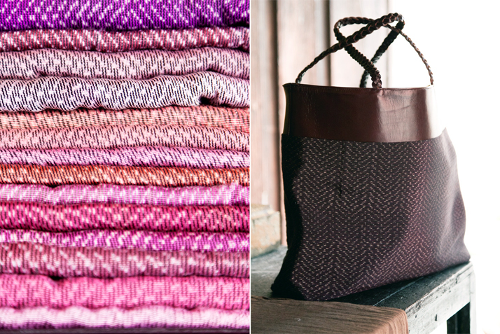 A stack of antique rebozos and a bag made from rebozo fabric and hand-dyed leather.  Photo © Todd Selby, The Shelby.