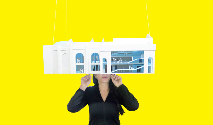 Marina Abramović with Study Model. Image Courtesy OMA.
