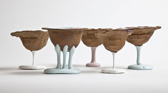 ''Shaping Fluid'' ceramic series by Christina Schou Christensen. (2013). Photo © Christina Schou Christensen.