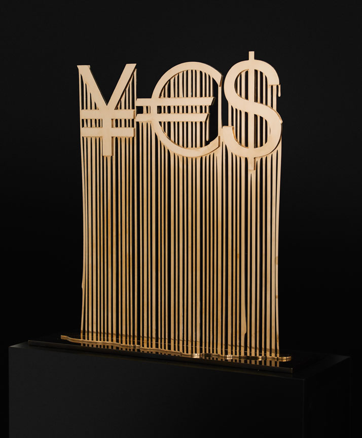 Liquidated YES by ZEVS. (2012)mirror polished bronze on patinated bronze base.36 1/2 x 36 x 10 1/2 inches // 93 x 91 x 27 cm // Edition of 4, + 2 AP.Courtesy of the artist and De Buck Gallery, New York.