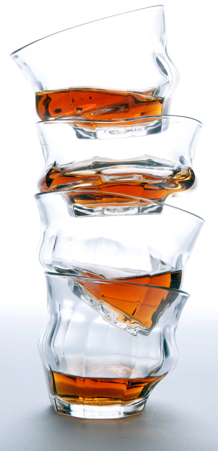 TIPSY Melting Glasses by Loris & Livia. (2011)The intervention on the traditional Duralex Picardie Glass by Loris & Livia for DesignMarketo. Available for purchase here.photo © James Champion.