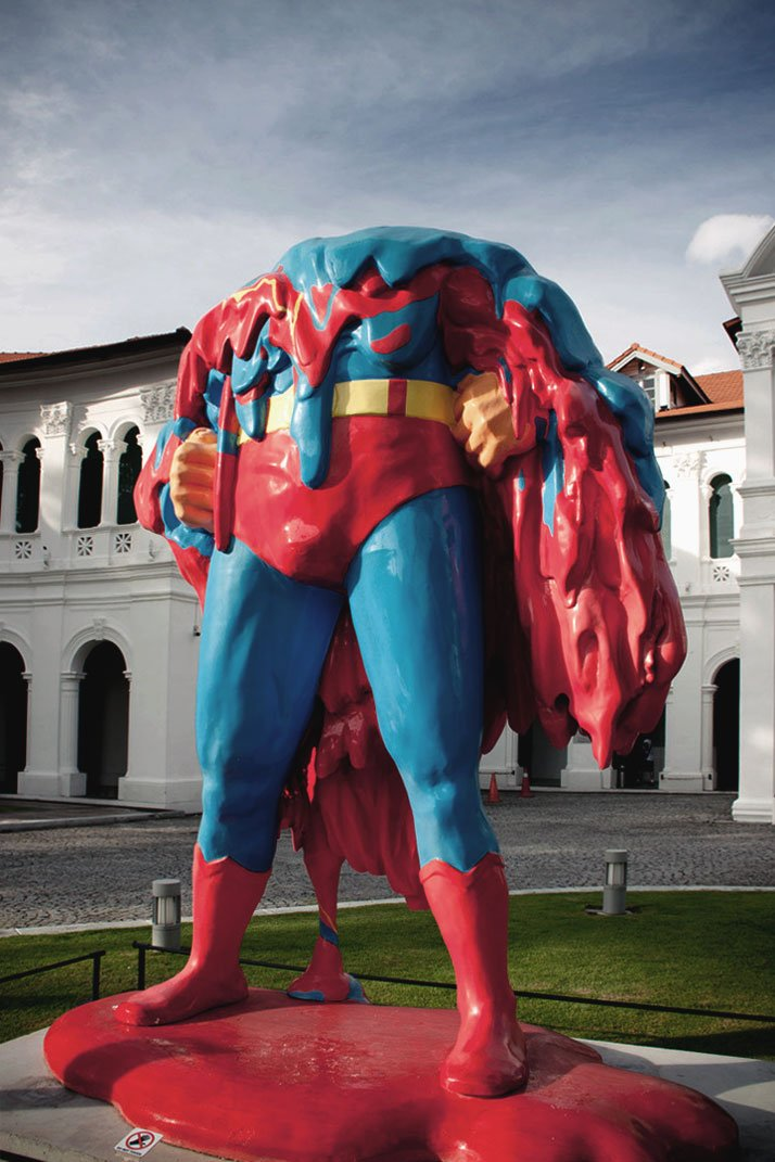 ''Nobody can save us...'' by Steve Lawler (Mojoko) and Eric Foenander. (2012)The Melting Superman was a response to the title of the 2012 show Future Proof set in Singapore Art Museum.photo © Mojoko.