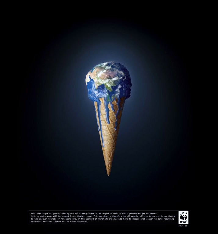 THE EARTH MELTING ad campaign by VVL/BBDO, Belgium for WWF. Release date:  June 2004.
