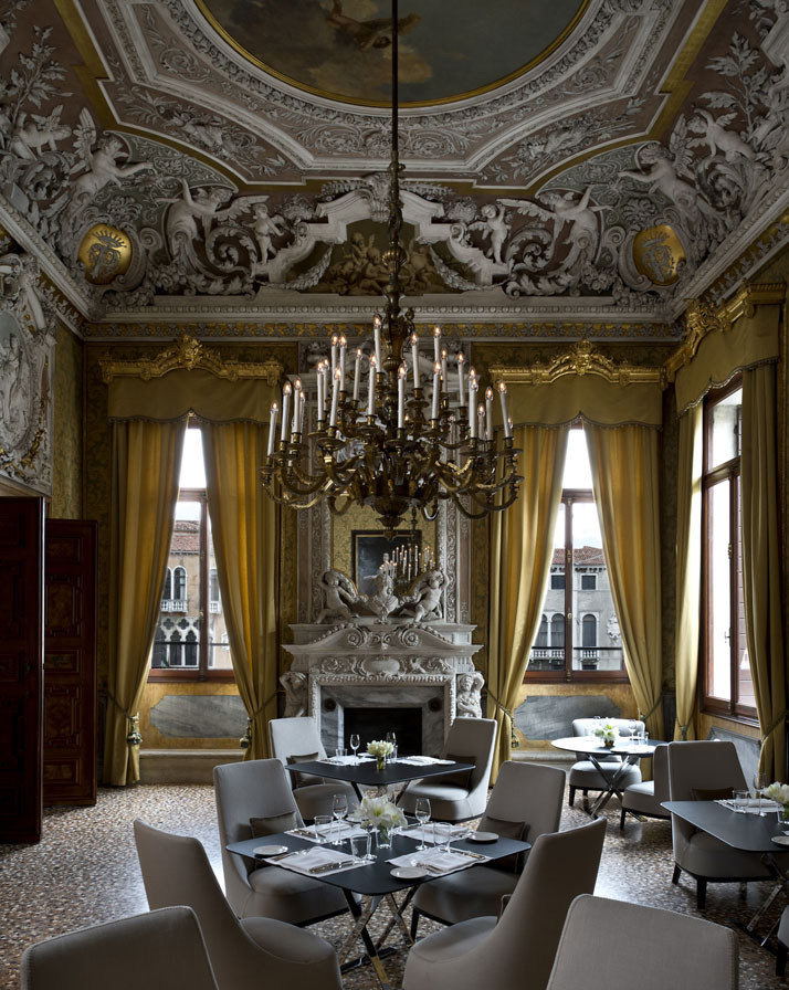 Yellow Dining Room, photo © Aman Canal Grande Hotel, Venice, Amanresorts.