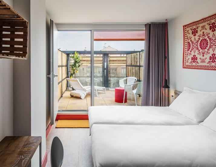 Generator BARCELONA.Seventh floor twin room with private roof terrace surprises expectations.Photo © Nikolas Koenig.