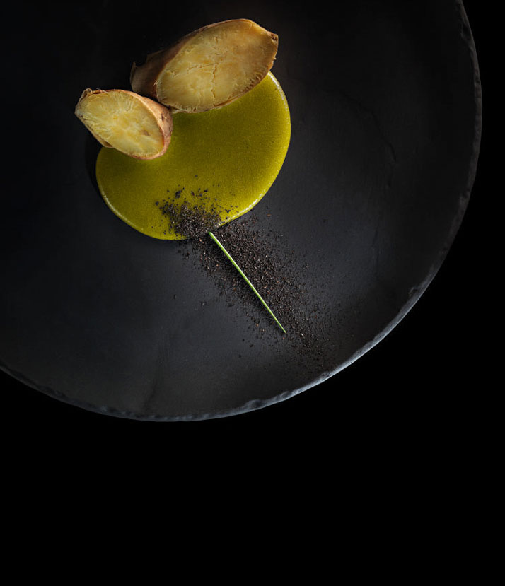 Sweet Potato with yerba mate béarnaise.  D.O.M.: Rediscovering Brazilian Ingredients. Alex Atala. Photo © PHAIDON.