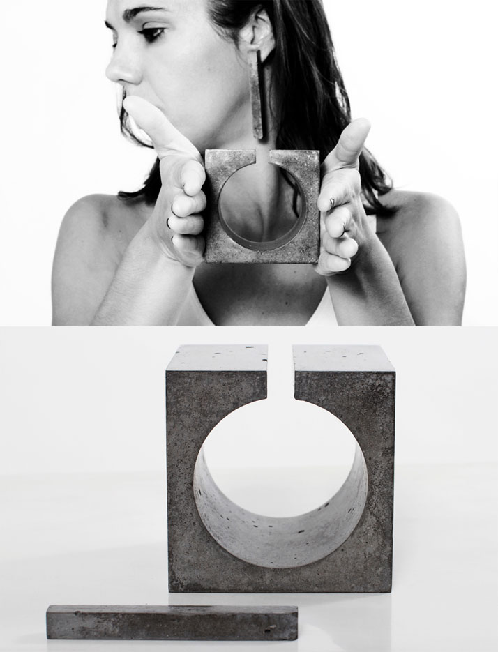 The cement bracelet and earrings of the ''DISPLACEMENT | Architecture to the body scale'' project by MicroMacroLab.