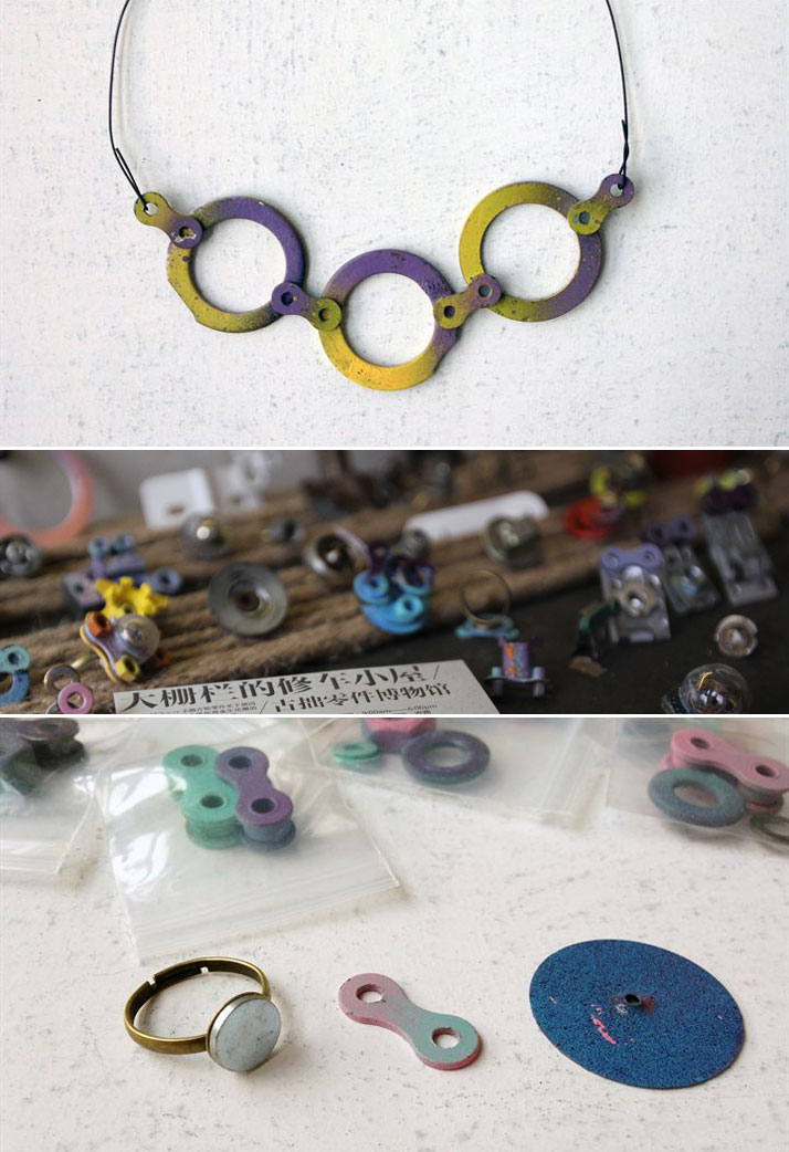 The Museum of bicycle parts on 49 Yingtao Hutong in Dashilar area. A Chinese family is using broken parts of bicycles to create jewellery, toys and ot