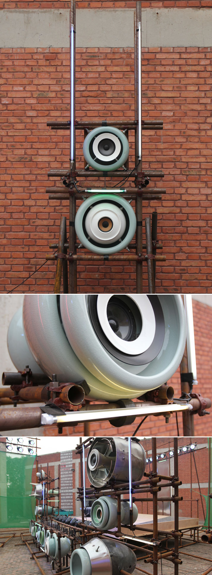 The CCD  pavilion, a ground-breaking stage system equipment  made of copper  pipes and ceramic-vases as speakers by world-known  contemporary artist L
