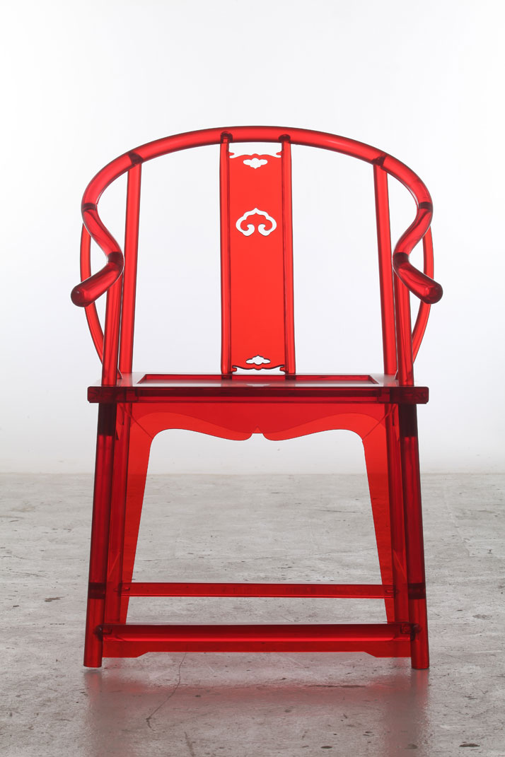 Traditional Chinese chair fabricated from Red Acryl by 'Make+' studio (做+) / David Xing & Jack Xiang.
