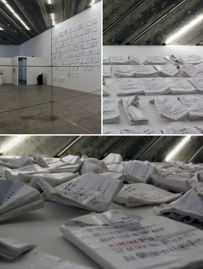 Han Wuzhou, National Anthem 2013, Installation, Plastic bags, Dimension Variable, 2013.On view at the exhibition ''HERE AND NOW, FROM BOREDOM TO ENDLE
