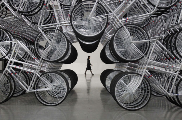 Ai Weiwei, Forever Bicycles, 2011Beijing, China // Sculpture photo © Taipei Fine Arts Museum