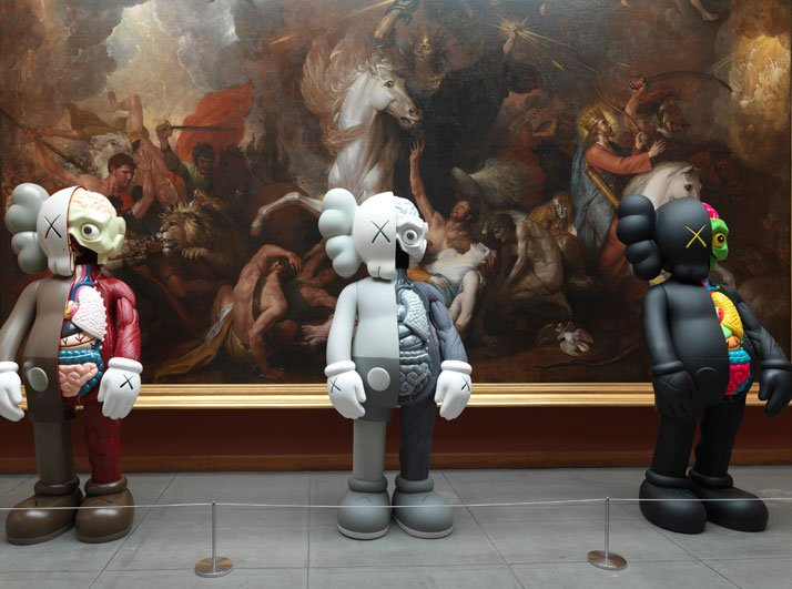 Installation view of three KAWS COMPANION (ORIGINALFAKE) (2010/11) sculptures at the Pennsylvania Academy of the Fine Arts, 2013. Image courtesy of PAFA.
