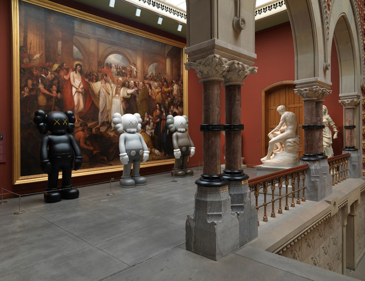 Installation view of three KAWS COMPANION (2009) sculptures at the Pennsylvania Academy of the Fine Arts, 2013. Image courtesy of PAFA.