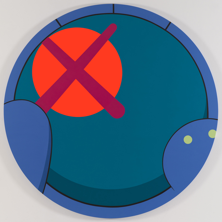 KAWS, [not yet titled], 2013Acrylic on canvas; 96 inch tondoCourtesy: Honor Fraser Gallery, Los AngelesPhoto: Farzad Owrang