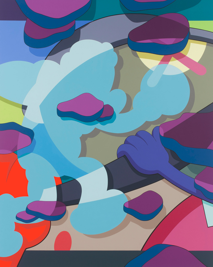KAWS, HALF FULL, 2012Acrylic on canvas; 120 x 96 inchesPrivate collectionCourtesy of Galerie Perrotin, Hong Kong, Paris, New YorkPhoto: Farzad Owrang