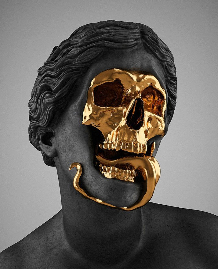 Hedi Xandt, The God Of The Grove, 2013. (detail)gold-plated brass, polymer, distressed black finish, marble.Courtesy of Hedi Xandt.