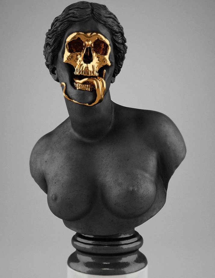 Hedi Xandt, The God Of The Grove, 2013. gold-plated brass, polymer, distressed black finish, marble.Courtesy of Hedi Xandt.