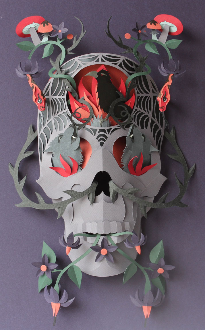 Paper skull by Helen Musselwhite.photo © Helen Musselwhite and Boxbird Gallery.