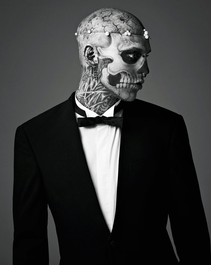 Rick Genest / Anatomy of Change, MUGLER F/W 2011-12.Photo by Mariano Vivanco, styling Nicola Formichetti, photo retouch by Chris Roome of Happy Finish.Courtesy of MUGLER.