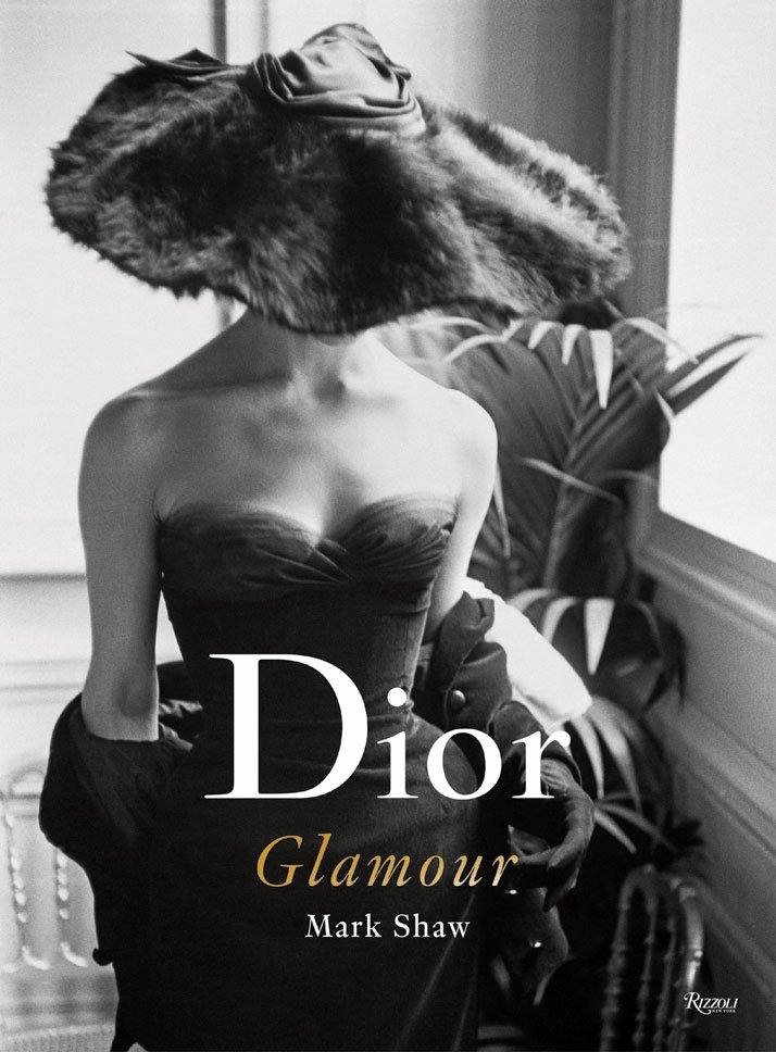 Dior in-house model Eugénie Pompon wearing the Clorinde dress, Autumn-Winter 1954 Haute Couture collection, H line.Book cover, © Mark Shaw, Rizzoli.