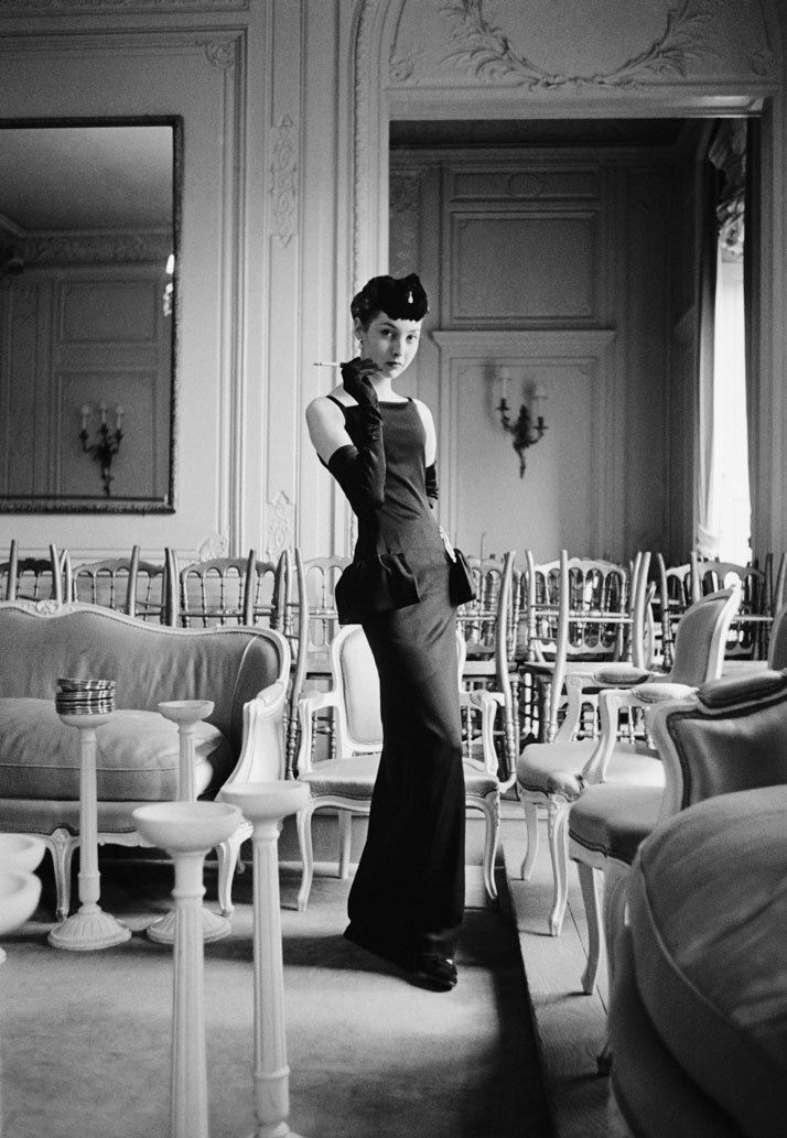 Two visions of Renée, one of Christian Dior's favorite models who represented his physical idéal. ''Every dress she puts on seems to be a success,'' he wrote in his memoirs. According to Victoire, Renée's proportions ''were so perfect that they were shop mannequin-like.''1954, Gazette du bon ton dress, Autumn-Winter 1954 Haute Couture collection, H line.photo © Mark Shaw.