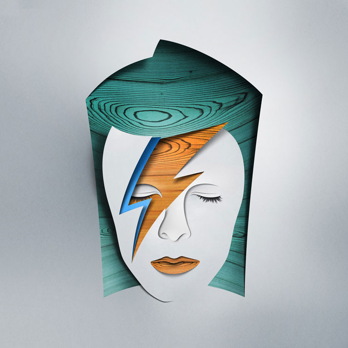 """Remake of David Bowie – Aladdin Sane for exhibition """"Re-Cover"""" at Paris.Courtesy of Eiko Ojala."""