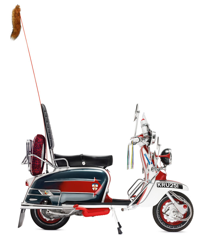 AN EXACT REPLICA OF JIMMY'S LAMBRETTA FROM THE FILM ''QUADROPHENIA''Signed by Pete Townsend and Roger Daltrey for the (RED) Auction 2013.Metal, rubber