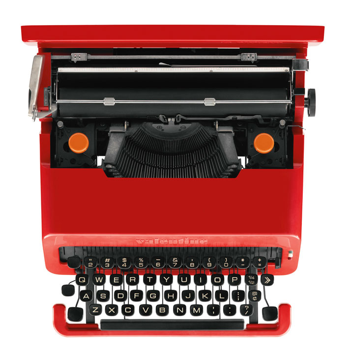 ETTORE SOTTSASS''VALENTINE'' PORTABLE TYPEWRITERABS plastic casing, with black plastic keys and white lettering, in original red carry case. Includes