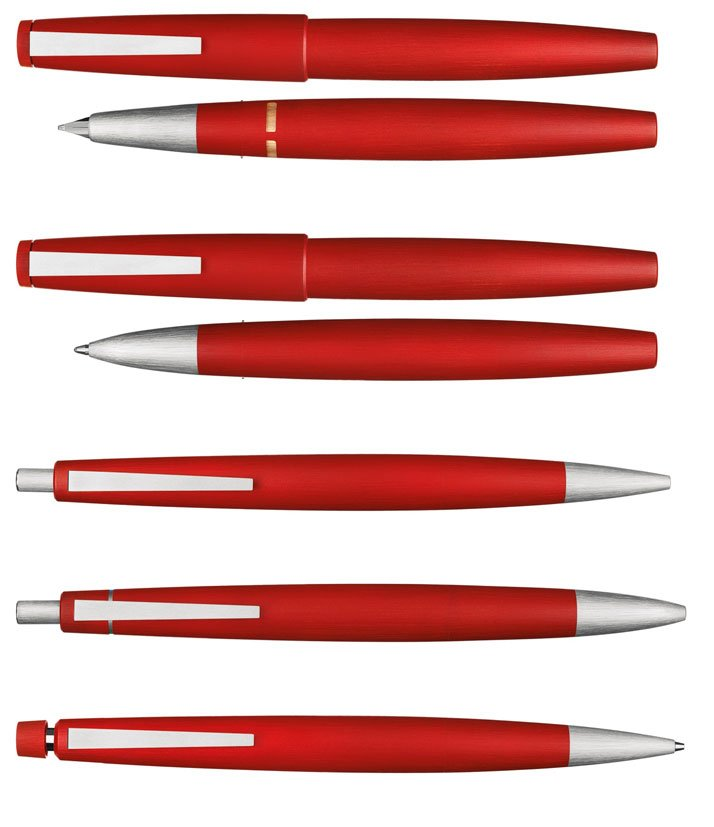 GERD ALFRED MÜLLERA UNIQUE LAMY 2000 PEN SETEach pen has been created in a unique red colour applied to LAMY's standard polycarbonate material with a
