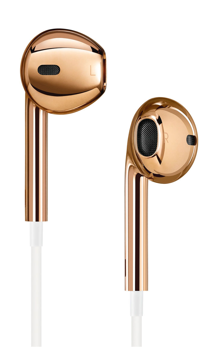 APPLE INC.PAIR OF SOLID ROSE GOLD EARPODSSelected and customised by Jony Ive and Marc Newson for the (RED) Auction 2013 with a custom display case. Ed