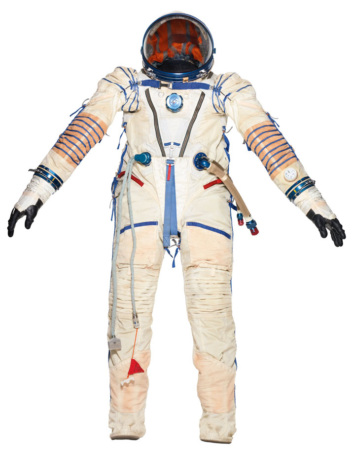 A ''ZVEZDA'' COSMONAUT SUIT WORN ON A SOVIET SPACE AGENCY MISSION INTO SPACEFabric with rubber lining1990Produced by RD & PE Zvezda, Russia