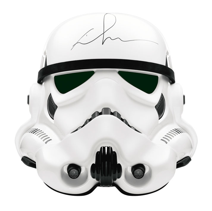 "A STORMTROOPER HELMET FROM THE ''STAR WARS'' SERIESSigned by George Lucas for the (RED) Auction 2013.ABS. In original cardboard ""Star Wars\"" Stormtroop"