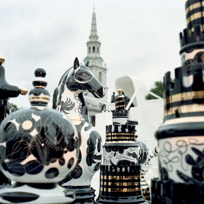 Jaime Hayon, The Tournament, 2009. 2m high ceramic chess pieces on a specially created Bisazza mosaic glass chess board. © Jaime Hayon.