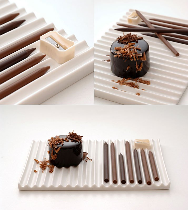 Chocolate-pencils by Nendo for Hironobu Tsujiguchi, 2007.Photo © Nendo.