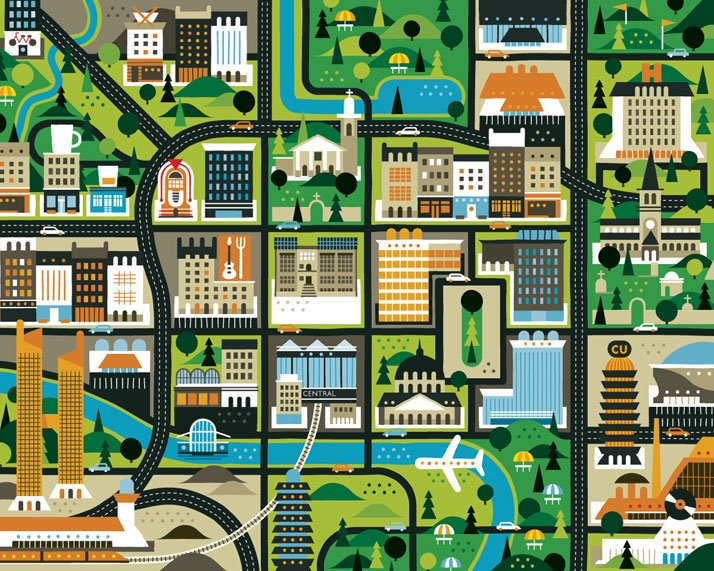The map of Glasgow (for Intro Magazine), Courtesy of KHUAN+KTRON.