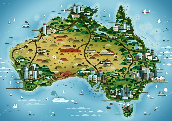 The map of Australia (for Weekend Knack Magazine), Courtesy of KHUAN+KTRON.