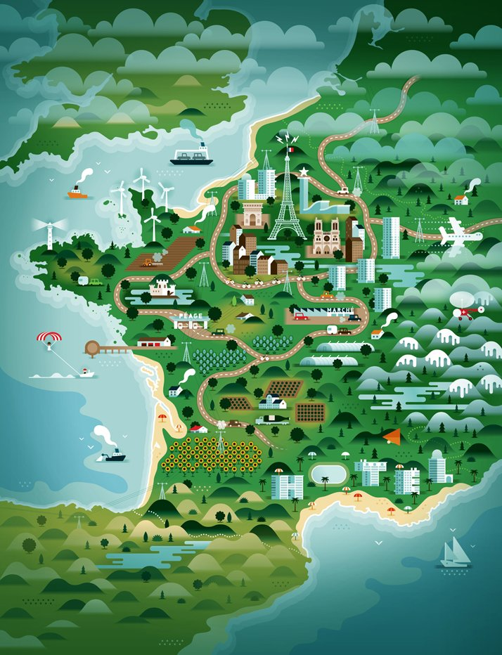 The map of France (for Weekend Knack Magazine), Courtesy of KHUAN+KTRON.