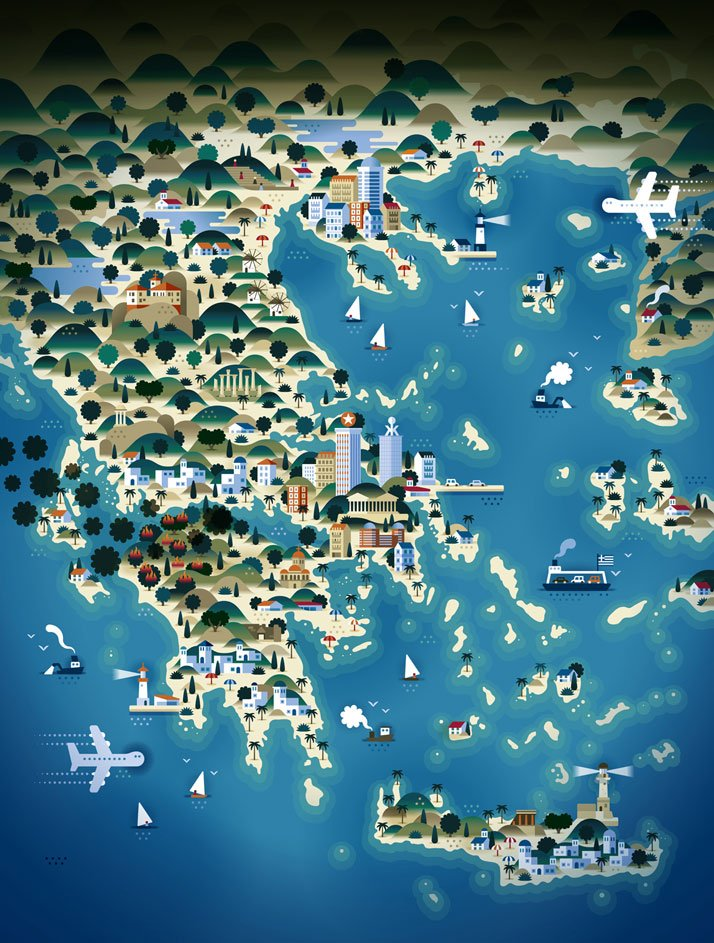The map of GREECE (for Weekend Knack Magazine), Courtesy of KHUAN+KTRON.