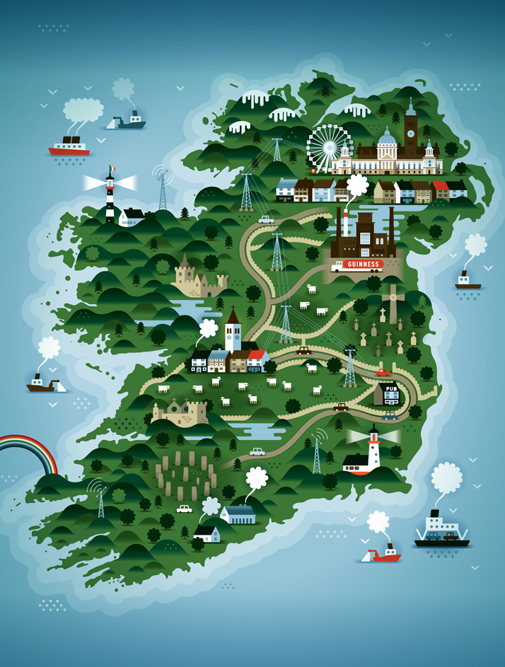 The map of Ireland (for Weekend Knack Magazine), Courtesy of KHUAN+KTRON.
