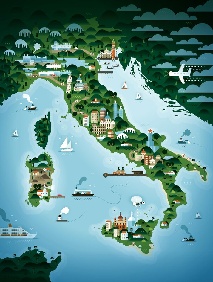The map of Italy (for Weekend Knack Magazine), Courtesy of KHUAN+KTRON.