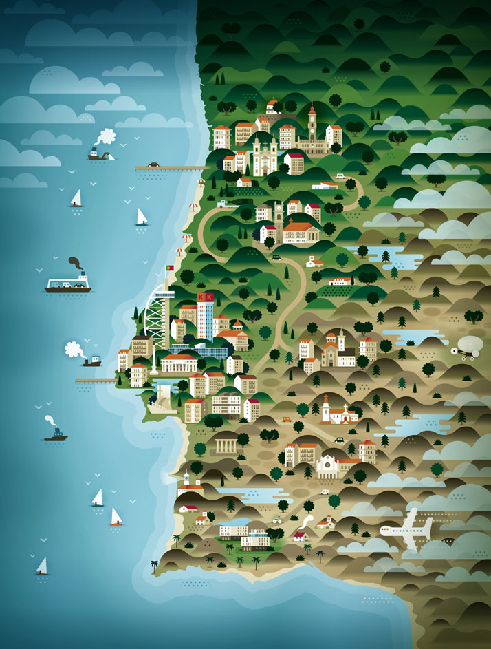 The map of Portugal (for Weekend Knack Magazine), Courtesy of KHUAN+KTRON.
