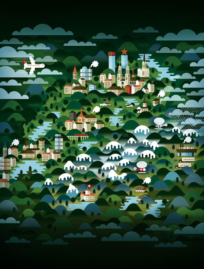 The map of Switzerland (for Weekend Knack Magazine), Courtesy of KHUAN+KTRON.